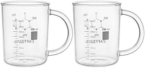 Suwimut 2 Pack Caffeine Beaker Mug Caffeine Molecule Mug 16 oz Borosilicate Glass Chemistry product image