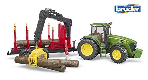 Bruder 03054 - John Deere 7930 mit Rückeanhänger und 4 Baumstämmen