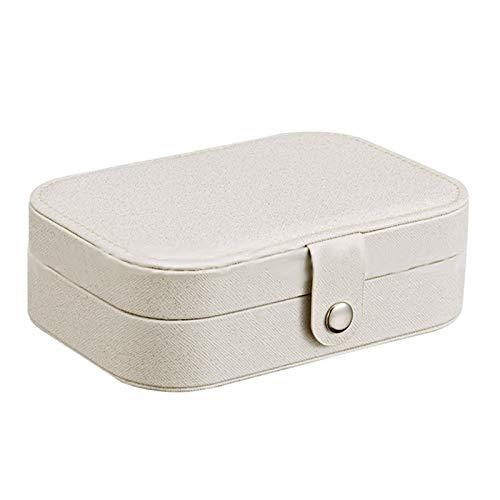Elibeauty Caja de almacenamiento para joyas, joyero, multifuncional, caja de almacenamiento portátil, bolsa de almacenamiento de joyería de viaje, caja de almacenamiento de joyería (blanco)