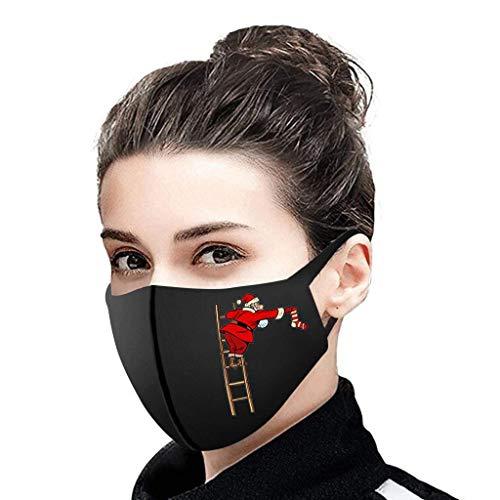 riou Damen Weihnachten Mundschutz Multifunktionstuch mit Motiv Waschbar Stoffmaske Atmungsaktiv Mund und Nasenschutz Halstuch Schals