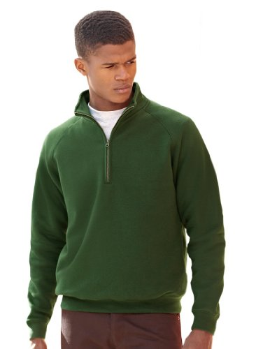 Fruit of the Loom: Zip Neck Sweat 62-114-0, Größe:L;Farbe:Bottle Green