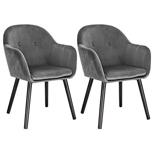 WOLTU 2Pz Sedie per Sala da Pranzo con Braccioli Poltrona Imbottita Gambe in Legno Seduta in Tessuto Velluto