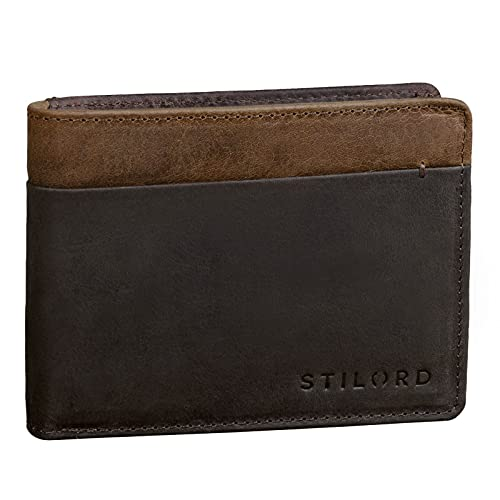 STILORD 'Sterling' Portafoglio Uomo in Pelle Bicolore con Protezione RFID Portafogli Vintage con Portamonete, Colore:marrone scuro