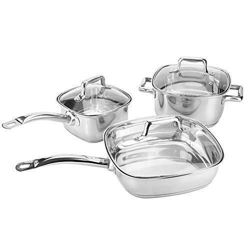 MICEROSHE Set di pentole durevoli professionali, set di utensili da cucina per tutti gli apparecchi compresi quelli a induzione, pratico e conveniente (colore: argento, dimensioni: 16 + 20 + 24 cm)