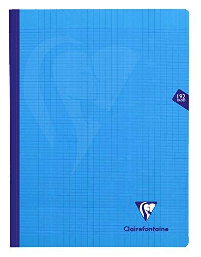 Clairefontaine 329341C - Un cahier broché cousu fil Mimesys 192 pages 24x32 cm 90g grands carreaux, couverture polypro (plastique), Bleu
