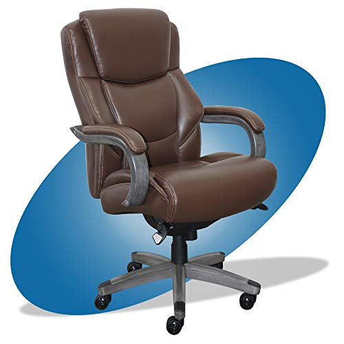 La-Z-Boy Delano Big & Tall Executive Office Chair   High Back Ergonomic Lumbar Support, Bonded Leather, Brown with Weathered Gray Wood   -  Millwork Holdings Co., Inc., CHR10045C