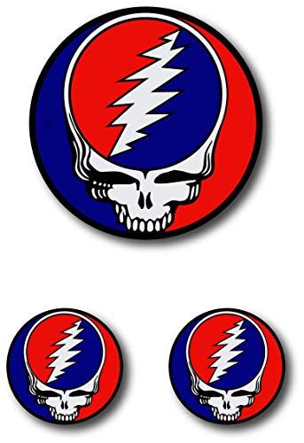 Grateful Dead Steal Your Face Rock Band Skull Vinyl Sticker for Car Laptop Windows and More 1 Large (4 Inches) 2 Small (2 inches)