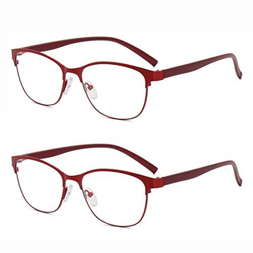 L-LIPENG - Juego de 2 gafas de lectura con bloqueo de luz azul TR90 con bisagras de resorte para bloqueo de ojos con gafas de lectura para hombres y mujeres, +1,00