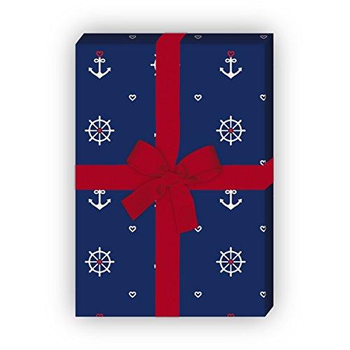 Kartenkaufrausch Maritimes Geschenkpapier Set 4 Bogen, Dekorpapier, Musterpapier zum Einpacken mit Herz, Anker und Steuerrad, blau, für tolle Geschenk Verpackung, Designpapier 32 x 48cm