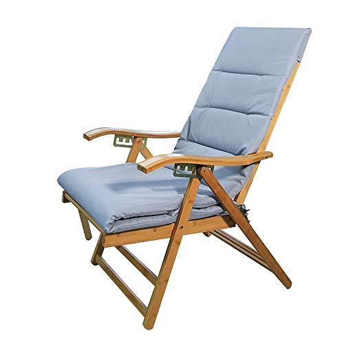 Tumbonas HAIYU- Sillón Reclinable de Bambú Plegable, Balcón Relajante Lounge Chair Jardín Ocio Exterior Ajustable en Varias Posiciones con Cojín (Color : 1001)