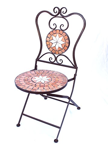 DanDiBo Silla de jardín Mosaik Merano 12002, altura de 93 cm, de metal, silla plegable