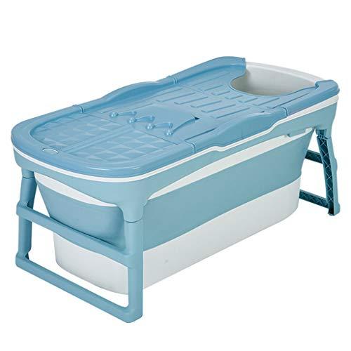 Inklapbare badkuip Volwassene, badvat 125cm groot antislip draagbaar vouwbad douchecabine met isolatiehoes gemakkelijk afvoer Blauw