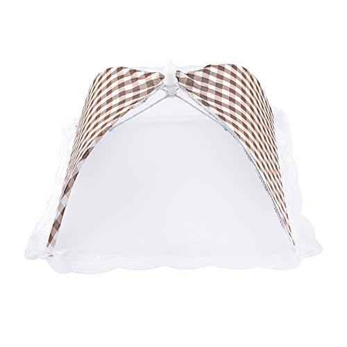 Couverture de Nourriture Filet de Couverture Extensible en Maille Pliable Couvre Parapluie de Tente Anti-insecte Anti- poussière pour Cuisine de Barbecue Pique-nique(beige)
