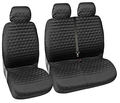 Flexzon - Fundas de asiento para furgoneta (2+1, tela suave, aspecto de diamante, color negro