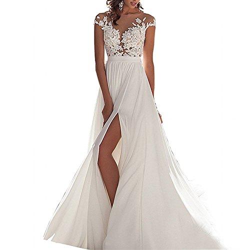 YASIOU Damen Brautkleid a Linie Lang Chiffon Spitze Prinzessin Mit Schleppe Rückenfrei Strand Hochzeitskleid
