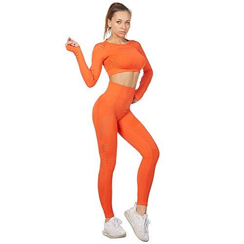 Jamron Donna Set di Abbigliamento Yoga Top Corto+Ghette 2 Pezzi Tuta Sportiva Palestra Fitness Activewear Arancia SN05405 S