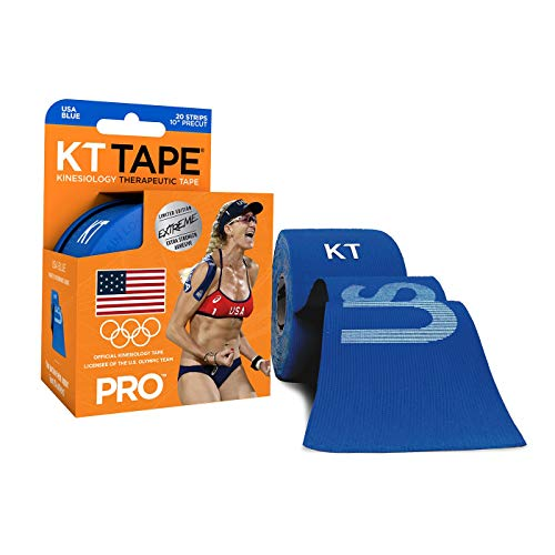 KT Tape PRO Extreme USA Kinesiology Sports Tape, Roll of 20 Precut 10-Inch X 2-Inch I-Strips in Resealable Plastic Case, US Olympic Team Edition, USA Blue