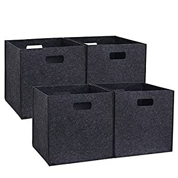 ASDHYBC 4-Pack Foldable Storage Cubes Storage Baskets with Double Handles 12  x 12  x 12  Fits Shelving System Felt Cube Storage Bins Baskets for Cubes Organizer Boxes  Dark Grey-4 Pack