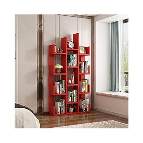 KELITINAus Libreria da Terra Libreria Multifunzione Libreria in Legno Home Office Espositore da Terra Scaffale Scaffale Scaffale per Cd/Riviste/Libreria,Rosso