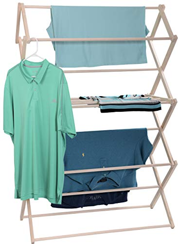 Pennsylvania Woodworks Clothes Drying Rack: Solid Maple Hardwood Laundry Rack for Bedding Blankets Towels amp More Heavy Duty Folding Drying Rack Made in USA No Assembly Needed Extra Large