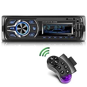 KYG Radio de Coche RDS Autoradio Bluetooth Manos Libres Radio Estéreo de Coche Apoyo de Reproductor MP3 con Control Remoto del Volante, Función de USB, SD, AUX