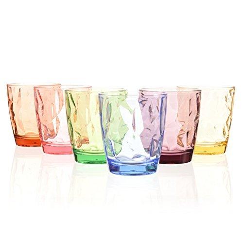 390ml 6-er Set Glaser Wassergläser Plastikbecher Trinkgläser Trinkbecher Longdrinkgläser Cocktailgläser Kinder Becher Saftgläser Wiederverwendbar (6 Colors)