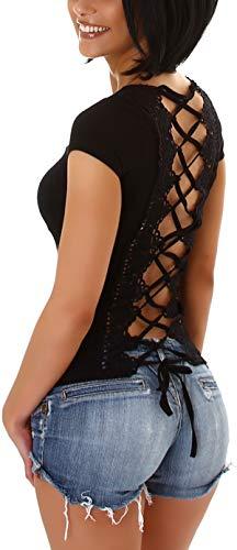 StyleLightOne Camiseta de verano sexy para mujer, espalda descubierta, encaje de ganchillo, elástico, (34-38) Negro 40