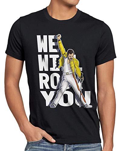 style3 Rock You Camiseta para Hombre T-Shirt Freddie Live Festival You, Talla:L, Color:Negro