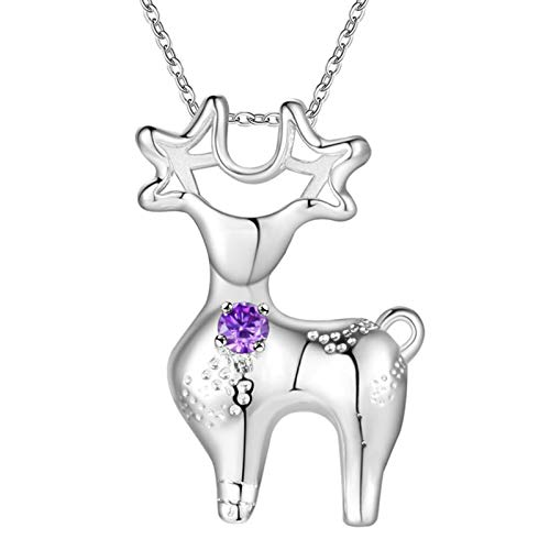 Daesar Necklace Friendship Gifts for Friend, Plated 18K White Gold Necklaces for Women Deer with Purple Cubic Zirconia Silver Necklaces Pendant