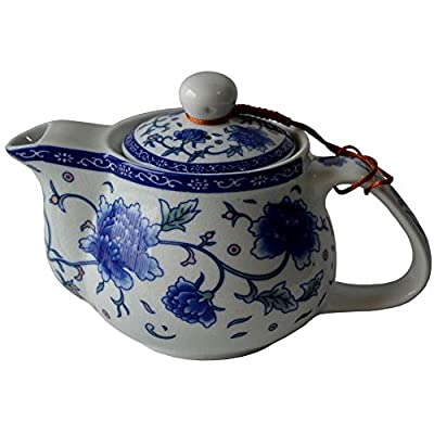 Liang baobao Porcelain Teapot, 9oz Tea Pot with Stainless Steel Filter Classical Chinese Penoy Flower (Blue-and-white Penoy)