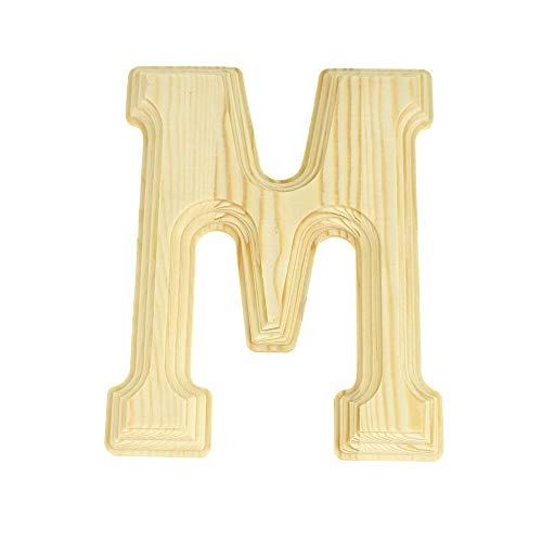 Homeford Pine Wood Beveled Wooden Letter M, Natural, 6-Inch
