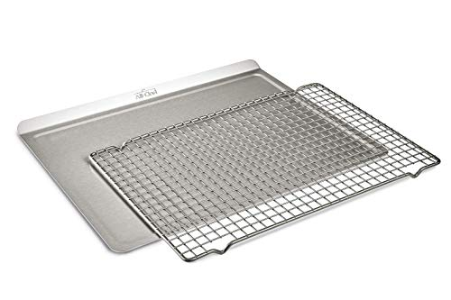 All-Clad 9000 D3 Ovenware 2 Pcs. Set, 14x17 Inch Roasting Sheet and Cooling Rack, Stainless Steel