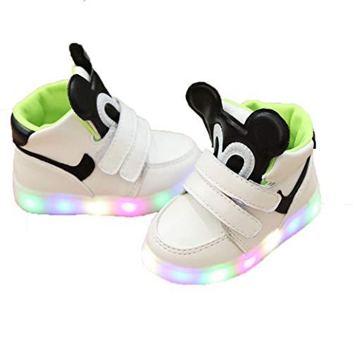 Scarpe Casual per Bambini Scarpe Autunnali e Invernali Cartone Animato Scarpe Luminose LED LED Antiscivolo Piatto High-Top Scarpe Casual Baby