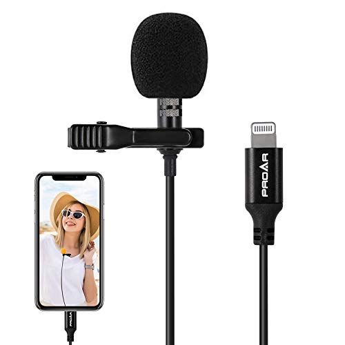 PROAR Microphone Professional for iPhone Grade Lavalier Lapel Microphone Phone Audio Video Recording Omnidirectional Condenser Mic IOS Microphone for iPhone/iPad/iPod Youtube,Podcast,Interview (6.6ft)