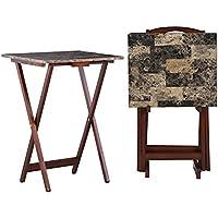 Linon Home Decor Tray Faux Marble Table Set