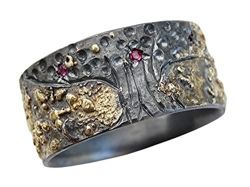 ruby wedding ring celtic tree of life ring, viking ring Yggdrasil, mens wedding band, gold silver ring, ruby anniversary gift for men
