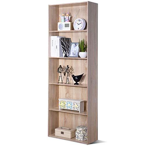 COSTWAY 170cm Bücherschrank mit 5 Ebenen, Bücherregal Holz, Aktenregal mit offenem Stauraum, Aufbewahrungsregal, Büroregal für Bücher, CDs, Pflanzen und Fotos (Natur)