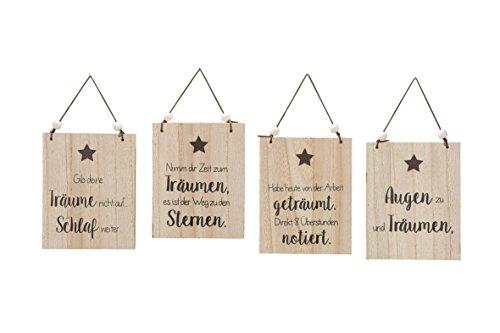 Geef je dromen niet op. Dromen natuur fineer met lus en houten parels hoogte 19 cm, raamdecoratie, wanddecoratie