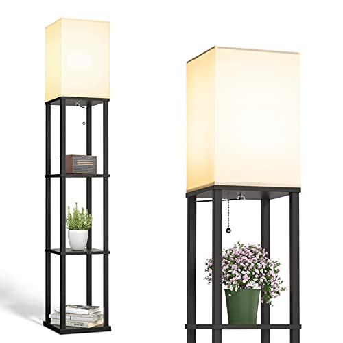 addlon LED Modern Shelf Floor Lamp with White Lamp Shade and LED Bulb - Display Floor Lamps with Shelves for Living Room, Bedroom and Office - Classic Black