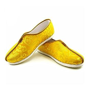 ZooBoo Chinese Martial Art Shoes - Traditional Kung Fu Tai Chi Wushu Shaolin Qi Gong Beijing Trainer Wing Chun Slipper Sneaker Footwear for Men Women  Gold US 8.5 Men =265mm