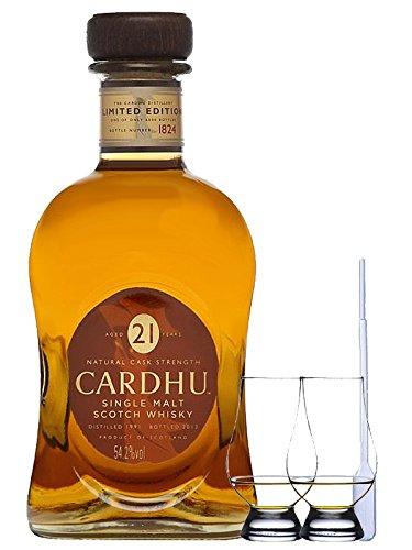Cardhu 21 Jahre Single Malt Whisky 0,7 Liter + 2 Glencairn Gläser + Einwegpipette 1 Stück