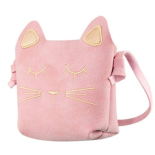 CNNIK Süße kleine Mädchen Mini Umhängetasche, Prinzessin Katze Umhängetasche Handtasche, PU Leder Geldbörsen Messenger Taschen (Rosa)