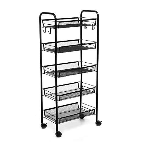 Yhjkvl Carrito de almacenamiento de 4/5 niveles, cesta de cocina, baño, carrito de almacenamiento de alimentos con ruedas con cerradura, 4 ganchos laterales (tamaño: negro B12; color: negro)