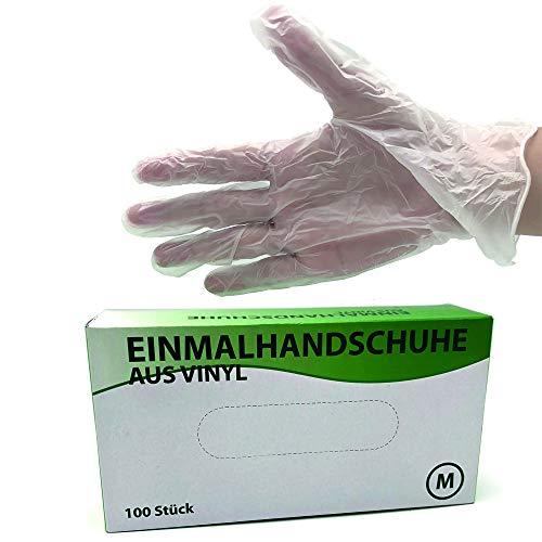 FTV Einmalhandschuhe aus Vinyl Größe M, 100 Stück (mit medizinischem Zertifikat), Handschuh ist Unsteril, Hautschonend, Ungepudert und Latexfrei, PSA-Kategorie I