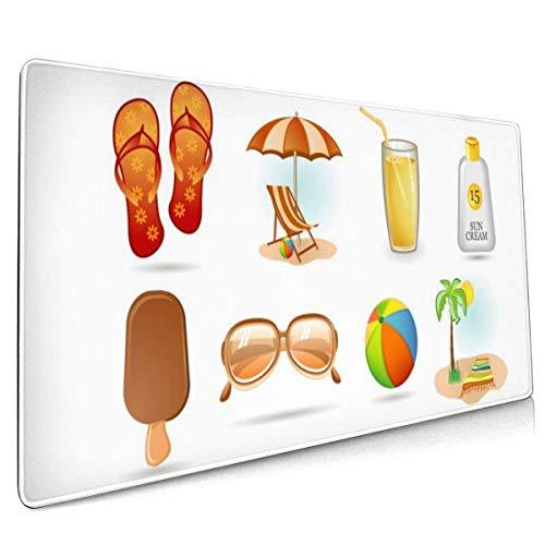 Alfombrilla de ratón para Juegos Grande, patrón de diseño de Objetos de Verano Brillante Alfombrilla de Escritorio Larga extendida Bordes cosidos (35.5x15.8 Pulgadas)