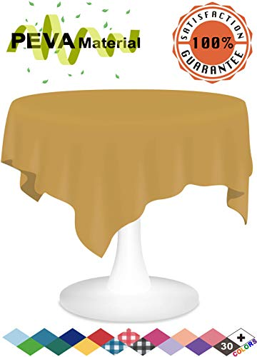 Gold Plastic Tablecloths 3 Pack Disposable Table Covers 84 Inch Circle Shower Party Tablecovers PEVA Vinyl Table Cloths for Round Tables up to 6 ft and Picnic BBQ Birthday Wedding Catering Banquet