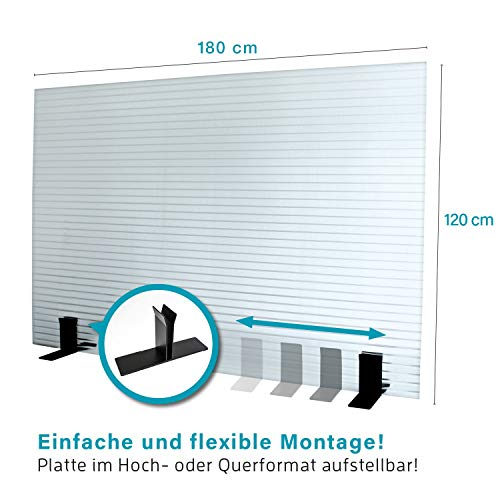 KAISER PLASTIC® | Stellwand - Trennwand | 120 x 180 cm | Made-In-Germany | Farbe klar/transparent