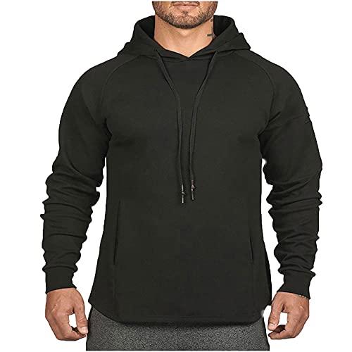 AOCRD Sudadera básica con capucha para hombre, gruesa, cálida, para otoño e invierno, Black02., XXL