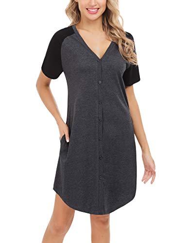 Aiboria Nachthemd Damen Kurz Schlafshirt Baumwolle Nachtkleid Kurzarm Nachtwäsche Umstandskleid Stillnachthemd Sleepshirt mit Knopfleiste
