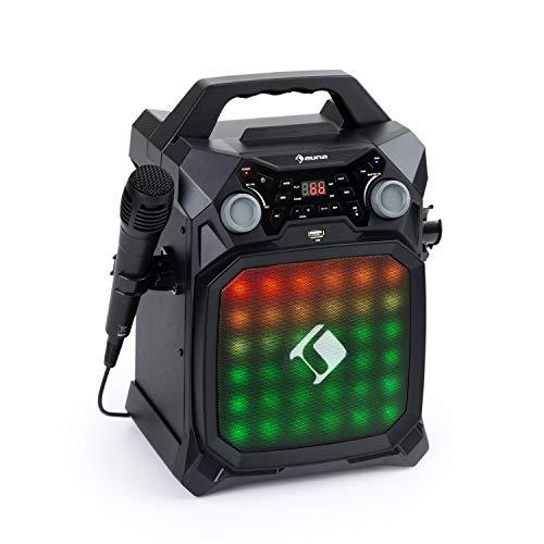 auna Rockstage LightShow Karaokeanlage, Bluetooth-Funktion, USB: Wiedergabe und Aufnahme, Multicolor-Lichtshow mit Equalizer, Akku-Betrieb, 2 x 6,3 mm Mikrofoneingang, Line-In/-Out, schwarz